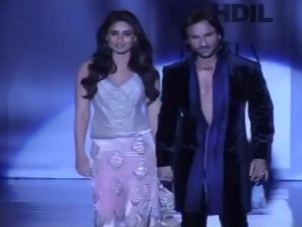 Celebrity couple Saif Ali Khan and Kareena Kapoor Khan walking down the ramp for fashion designer Manish Malhotra (Image Source: Instagram)