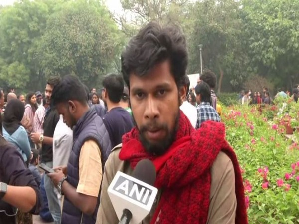 JNU Students' Union Vice-President Saket Moon speaking to ANI in New Delhi on Wednesday. Photo/ANI