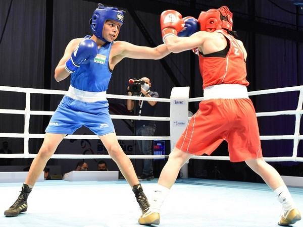Sakshi (54 kg) in action during her semi-final bout  (Image: BFI)