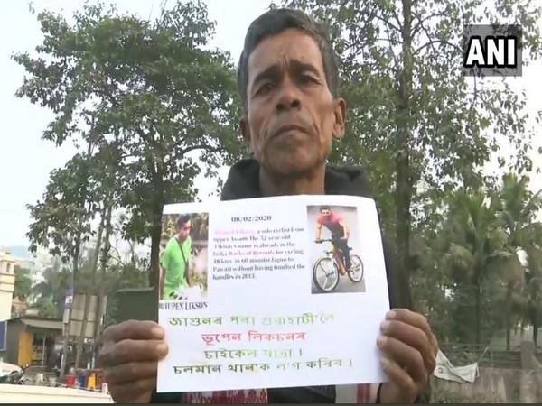 Cyclist Bhupen Likson in Guwahati (Photo/ANI)