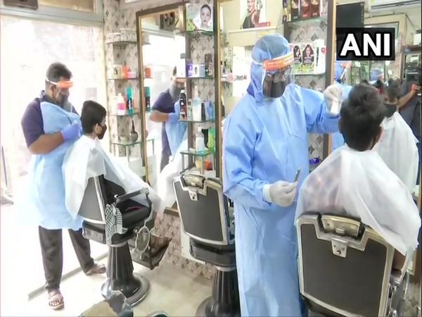 A salon in Ghatkopar, Mumbai which reopened on Sunday. (Photo/ANI)