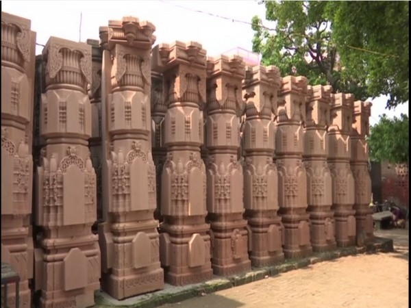 Carved sandstone pillars at the stone-carving workshop of Ram Janmabhoomi in Ayodhya. (Photo/ANI)