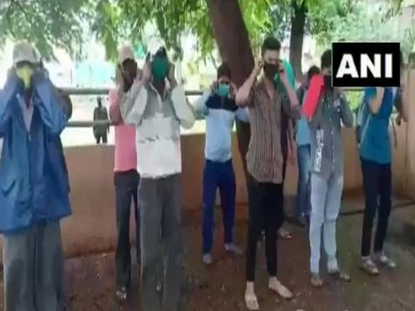 Offenders being made to do squats by STF for flood relief. Photo/ANI