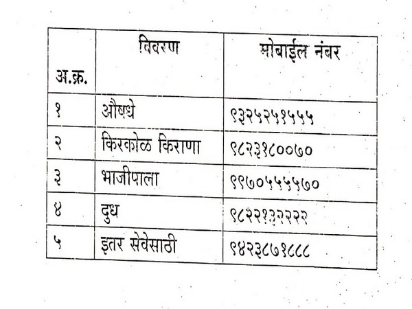 Contact numbers released by Sangli administration. Photo/ANI