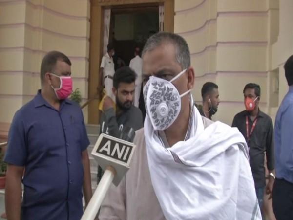 Bihar Minister Sanjay Jha talking to ANI in Patna on Wednesday. Photo/ANI