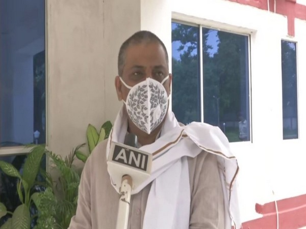 Minister for Water Resources in the Bihar government, Sanjay Kumar Jha, talking to ANI in Patna on Monday. [Photo/ANI]