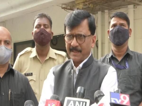Shiv Sena leader Sanjay Raut speaking to reporters on Thursday. Photo/ANI