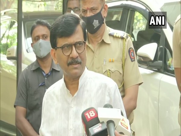 Shiv Sena MP Sanjay Raut speaking to reporters in Mumbai on Monday. Photo/ANI