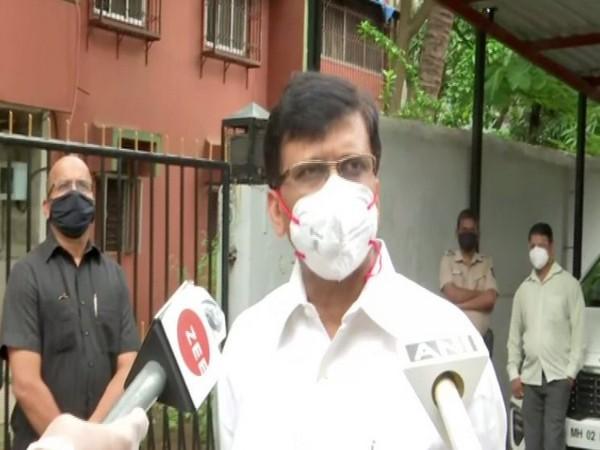 Shiv Sena MP Sanjay Raut speaking to reporters on Tuesday. [Photo/ANI]