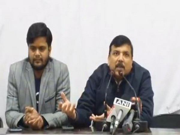 AAP leader Sanjay Singh speaking at a press conference in New Delhi on Friday. Photo/ANI