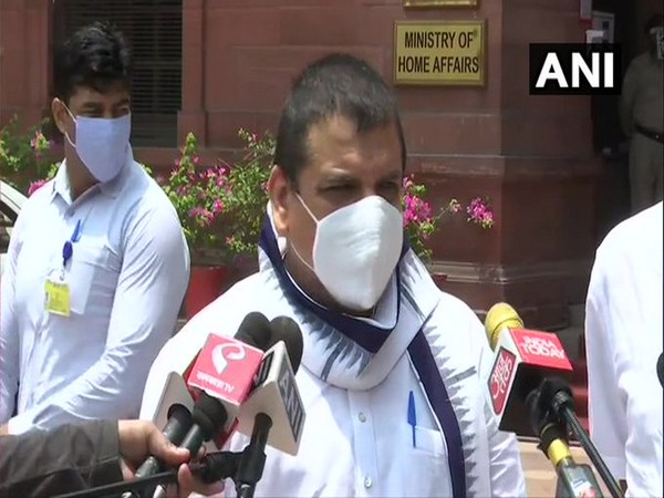 AAP leader Sanjay Singh speaking to reporters on Monday. [Photo/ANI]