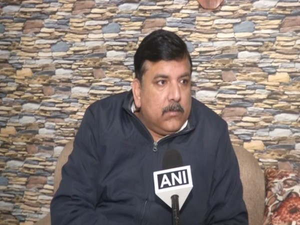AAP leader Sanjay Singh speaking to ANI in New Delhi on Sunday. Photo/ANI