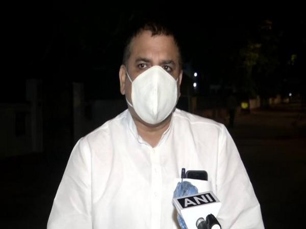 AAP Rajya Sabha MP Sanjay Singh speaking to ANI in New Delhi. Photo/ANI