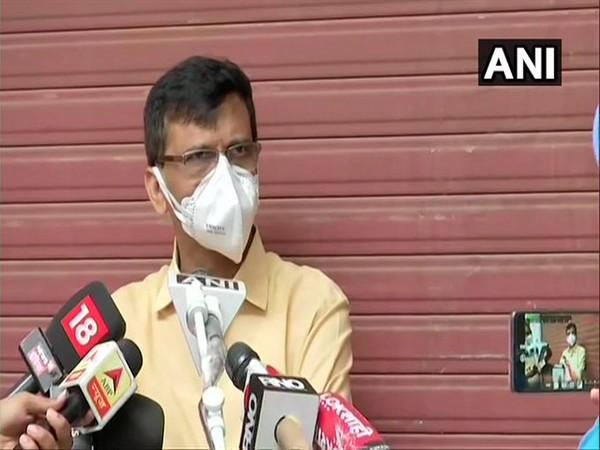 Shiv Sena leader Sanjay Raut speaking to media in Mumbai on Monday. Photo/ANI