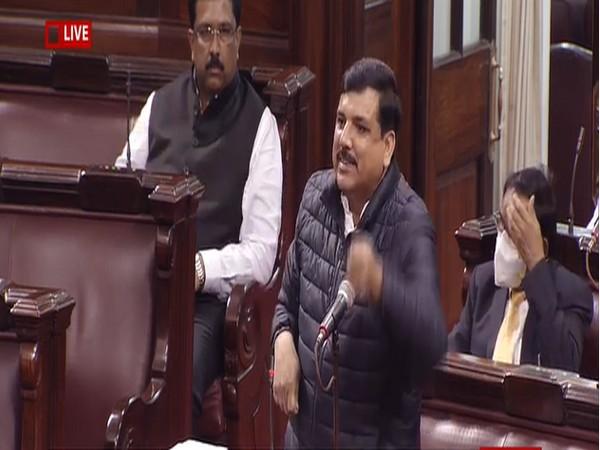 AAP leader Sanjay Singh speaking in Rajya Sabha on Thursday. Photo/ANI