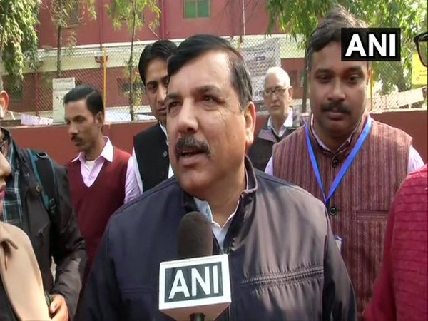 AAP MP Sanjay Singh speaks to media after casting vote