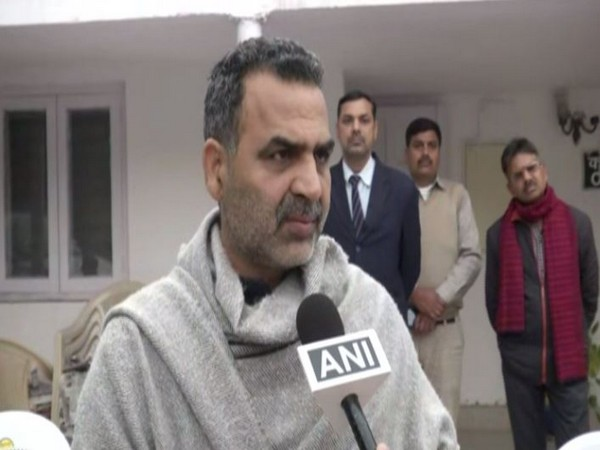 MoS for Animal Husbandry, Dairy and fisheries Sanjeev Balyan speaking to ANI in New Delhi on Tuesday. Photo/ANI