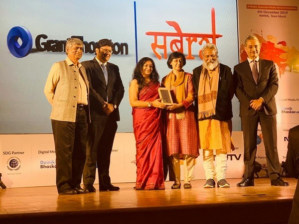 Ruby Ahluwalia of Sanjeevani being conferred the Grant Thornton Sabera Change Makers Award 2019