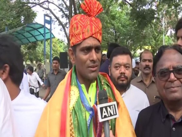 Youth Congress leader Santosh Kolkunda at the cycle rally in Hyderabad on Friday. Photo/ANI