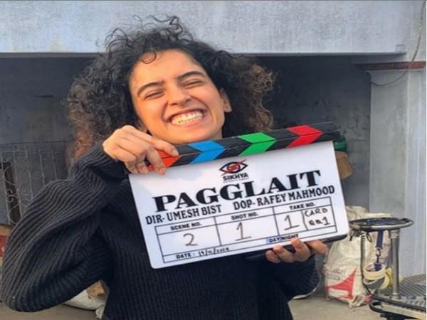 Sanya Malhotra holding 'Pagglait's clapperboard (Image courtesy: Instagram)