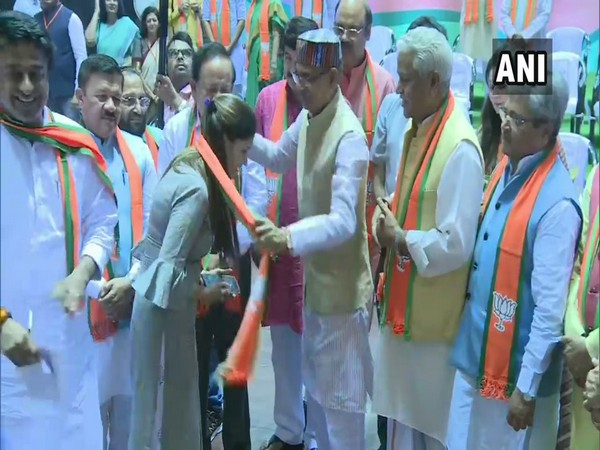 Sapna Chaudhary while being formally inducted into the BJP on Sunday. Photo/ANI