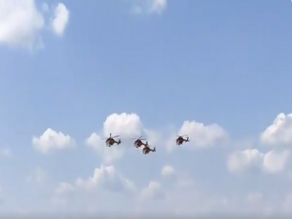 IAF Sarang helicopters performing at MAKS-2021 air show in Moscow. (ANI)