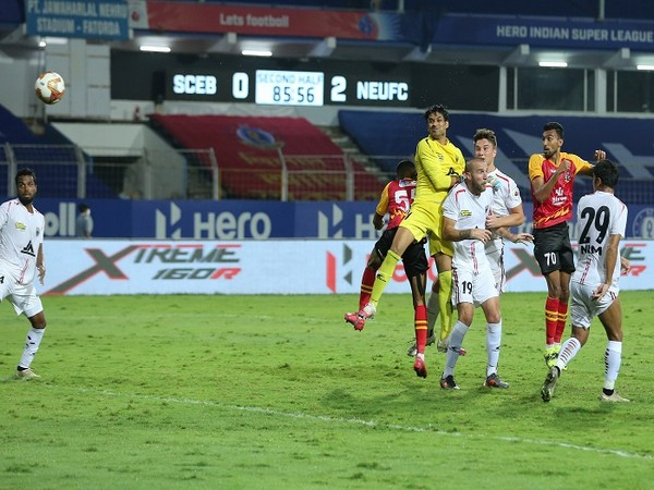 Sarthak Golui struck late but it wasn't going to be enough as NEUFC sealed the match comfortably (Image: ISL)
