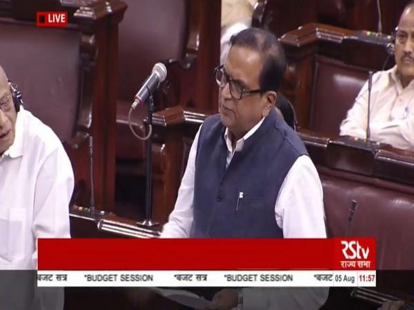 BSP MP Satish Chandra Mishra speaking in the Rajya Sabha on Monday. Photo courtesy: RS TV
