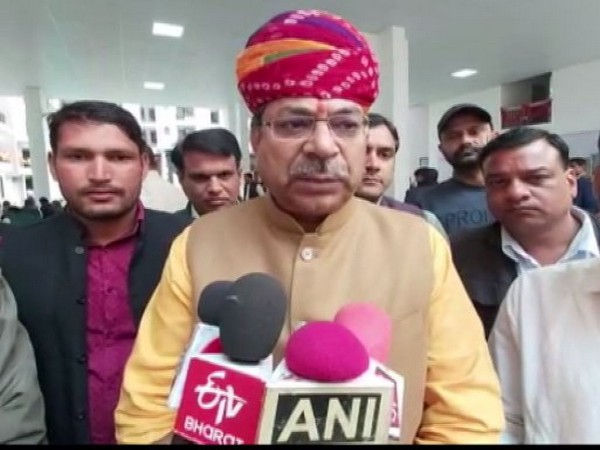 Rajasthan unit BJP president Satish Punia speaking to reporters in Sikar on Sunday. Photo/ANI