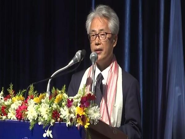Japanese envoy to India Satoshi Suzuki speaking at an event in Assam on Monday.