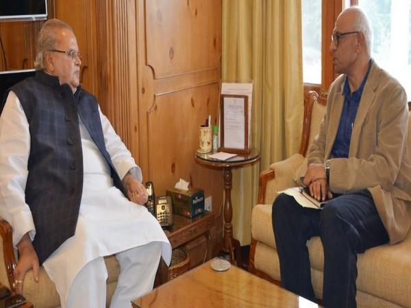 Secretary, Ministry of Skill Development and Entrepreneurship Dr KP Krishnan met with J-K Governor Satya Pal Malik on Wednesday. Photo/ANI