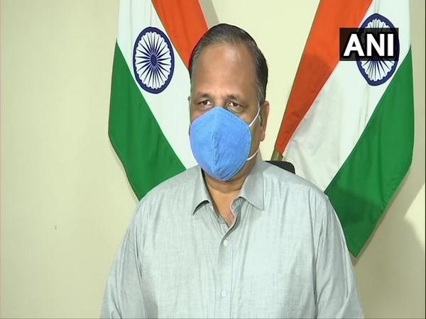 Delhi Home Minister Satyendar Jain speaking to reporters in New Delhi on Sunday. Photo/ANI