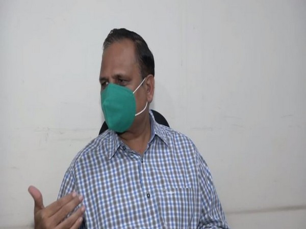 Health Minister, Delhi government, Satyendar Jain speaking to reporters on Tuesday. [Photo/ANI]