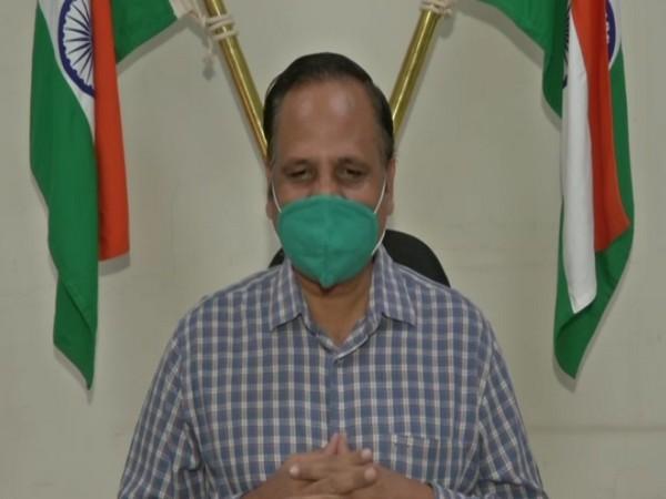 Delhi Health Minister Satyendar Jain speaking to reporters in Delhi on Monday. Photo/ANI