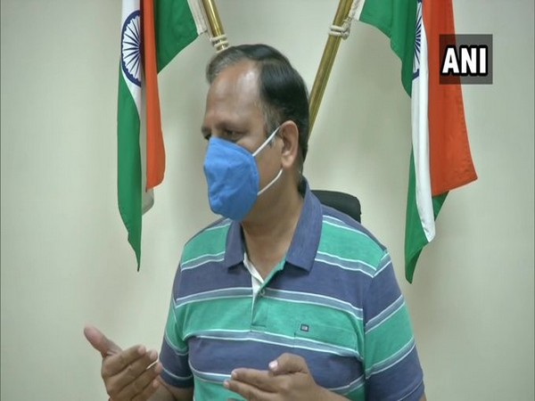 Delhi Health Minister Satyendar Jain speaking to reporters in Delhi on Friday. Photo/ANI