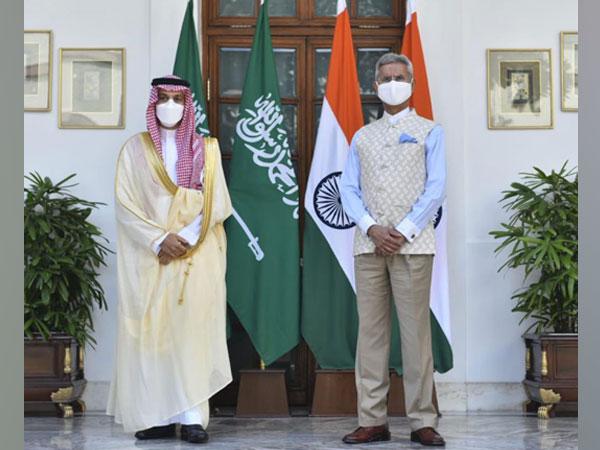 Saudi Arabia's Foreign Minister Prince Faisal bin Farhan Al Saud has arrived in New Delhi on a three-day visit. He is standing alongside External Affairs Minister (EAM) Jaishankar.