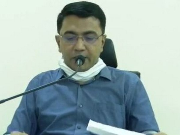 Goa Chief  Minister Pramod Sawant during the press conference in Goa on Sunday. Photo/ANI