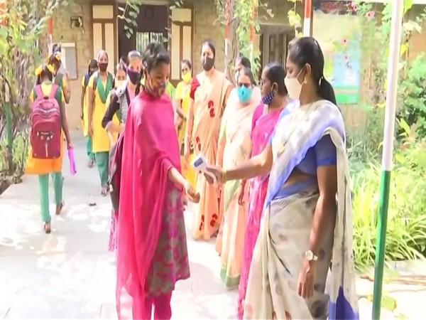 A visual from Bishop Azariah Government High School in Vijayawada on Monday. Photo/ANI