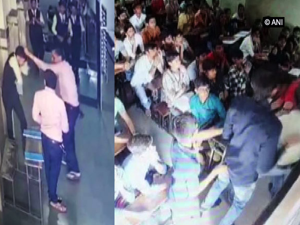 In two inicdents, teacher allegedly thrashed a class XII student (Left) and furious parents along with other people attacked the teacher on the school campus (Righ). (Photo/CCTV Footage)