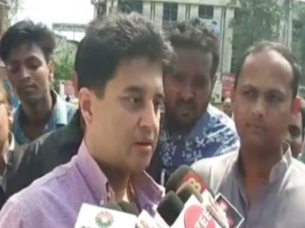 Senior Congress leader Jyotiraditya Scindia speaking to media persons on Wednesday in Indore. Photo/ANI