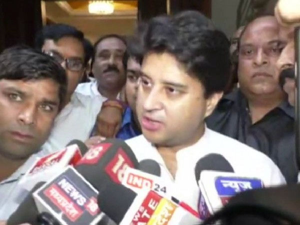 Senior Congress leader Jyotiraditya Scindia speaking to media persons on Sunday in Indore. Photo/ANI