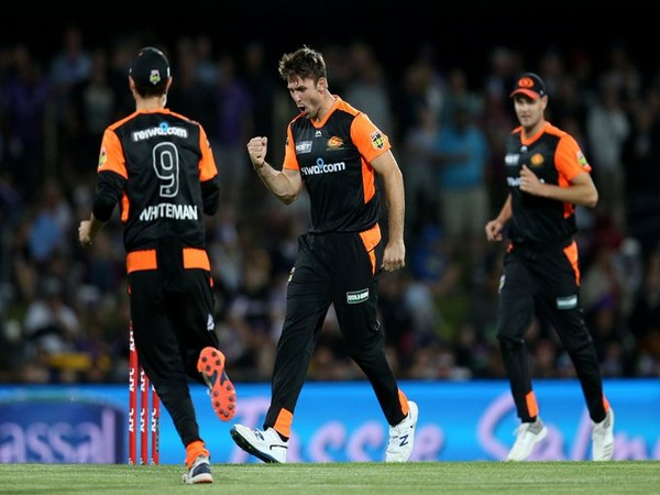 Perth Scorchers players celebrating after the victory over Hobart Hurricanes. (Photo/Perth Scorchers Twitter)