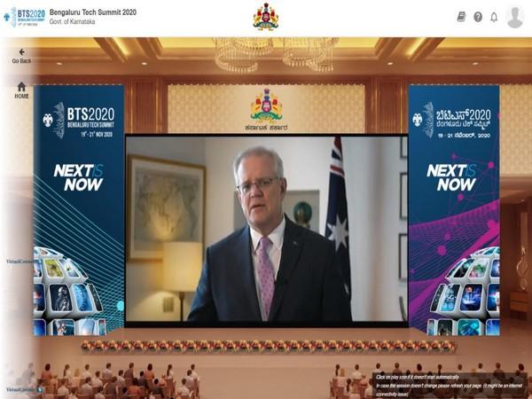 Australian Prime Minister Scott Morrison speaking at the Bengaluru Tech Summit. (Photo credit: Twitter/Bengaluru Tech Summit)