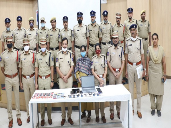 Visual of Cyberabad police team with seized items