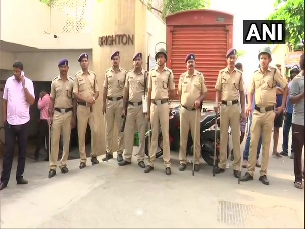 Security has been heightened outside Maharashtra Deputy CM Ajit Pawar's brother residence in Mumbai on Saturday. (Photo/ANI)