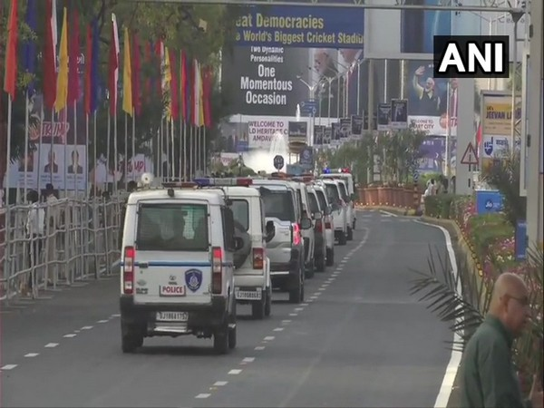 Security mock-drill being conducted outside Ahmedabad airport on Friday, ahead of US President Donald Trump's India visit.