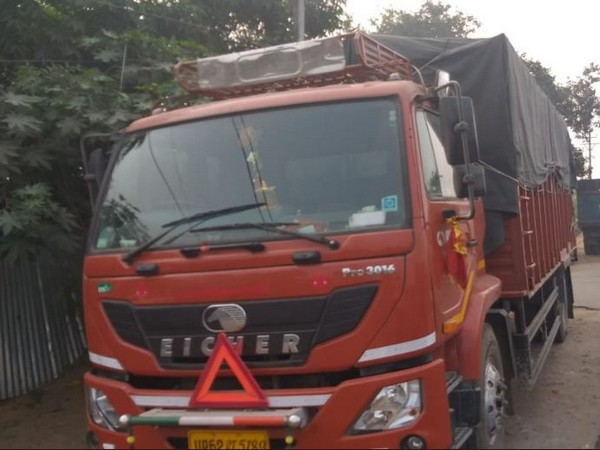 Seized truck which was carrying phensedyl bottles. Photo/ANI