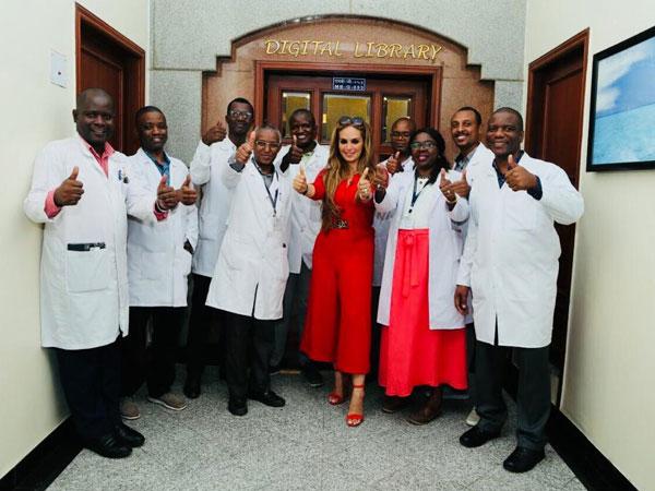 Senator, Dr. Rasha Kelej with Merck Foundation Alumni