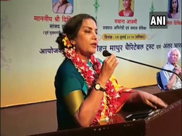Veteran actor Shabana Azmi while speaking at an event in Indore, Madhya Pradesh on Saturday. Photo/ANI