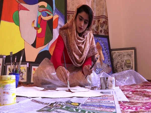 Shafiya Shafi has showcased her talent at the national level with paintings depicting the life of women. (Photo/ANI)